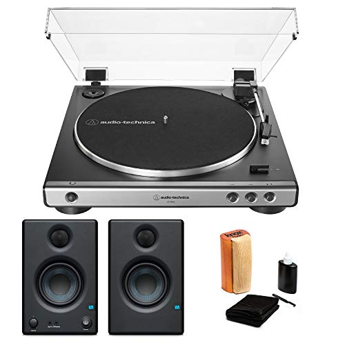 Audio-Technica AT-LP60X Fully Automatic Belt-Drive Stereo Turntable (Gunmetal) with Presonus Eris e3.5 Monitors and Knox Cleaning Kit