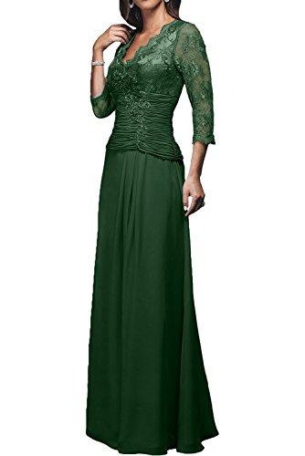 2017 Rot Abendkleider Damen Chiffon Langarm Charmant Rock Lang Linie A Dunkel Brautmutterkleider Neu Gruen Dunkel Ballkleider Rx1w5q
