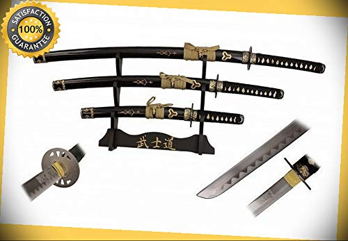 3 Pcs Bride Sword Set with Carbon Steel Blade & 3 Tier Display Stand perfect for cosplay outdoor camping