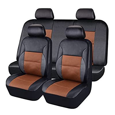 CAR PASS - 11PCS Luxurous PU Leather Automotive Universal Seat Covers Set Package-Universal fit for Vehicles,With 5mm Composite Sponge Inside,Airbag Compatible ...