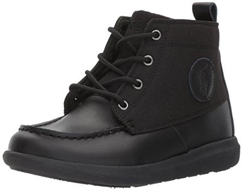 Polo Ralph Lauren Kids Boys' Ranger Sport Fashion Boot, Black Burnished Leather Black Nylon, 7.5 Medium US - Boots Lauren Ralph Baby