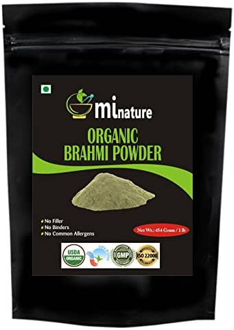 Organic Brahmi Bacopa Monnieri Powder - 1 lb\16 oz\454 gm USDA, Ayurvedic Herb Hair Growth and Brain Function, Resealable Pouch, Value Pack of a Pound 16 Ounce, Capsules Alternative