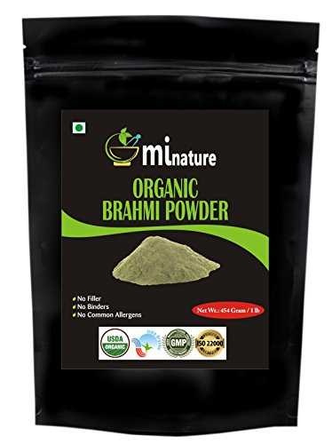 Organic Brahmi Bacopa Monnieri Powder – 1 lb\16 oz\454 gm USDA, Ayurvedic Herb Hair Growth and Brain Function, Resealable Pouch, Value Pack of a Pound 16 Ounce, Capsules Alternative For Sale
