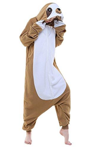 canasour Halloween Women's Brown Sloth Adult Unisex Onesie Pyjama (X-Large, Brown Sloth) (Christmas Sloth)