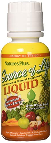 Natures Plus Source of Life Liquid - 8 fl oz - Delicious Tropical Fruit Flavor - Daily High Potency, Organic Whole Food Multivitamin Supplement - Vegetarian, Gluten Free - 8 ()