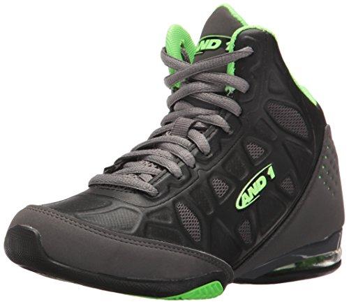 (AND1 Kids' Master 3 Mid Basketball Shoe, Castle Rock/Black/Green, 1 M US Little Kid)