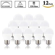 LED A15 Bulb, Daylight White 5000K 4 Watt LED A15 Appliance Bulb(Equivalent 40 Watt halogen), E26 Medium Base 120 Volt 360 Lumens, Replacement G50 Light Bulb Not Dimmable (Pack of 12)