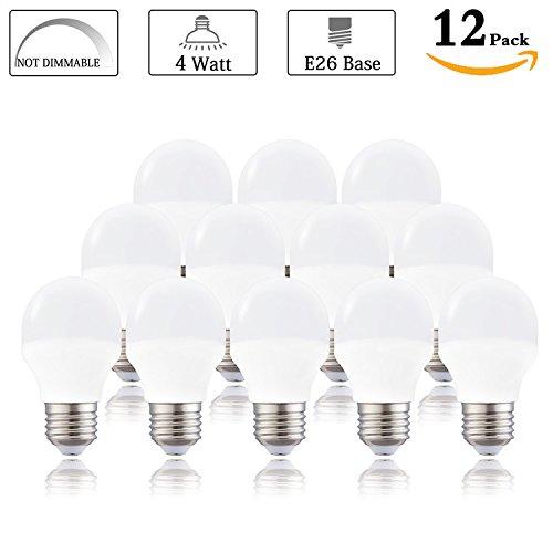 LED A15 Bulb, Daylight White 5000K 4 Watt LED A15 Appliance Bulb(Equivalent 40 Watt halogen), E26 Medium Base 120 Volt 360 Lumens, Replacement G50 Light Bulb Not Dimmable (Pack of 12) - 40w Blacklight Replacement Bulb