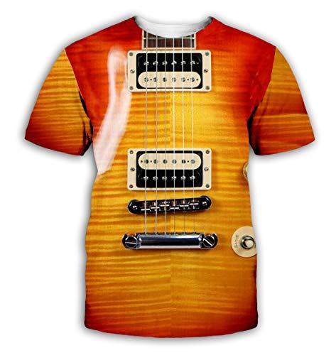 YX GIRL T Shirt Guitar Novelty Unisex 3D Printed Summer T-Shirt (guitar-01, -