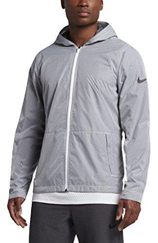 - NIKE Men's Hyper Elite All Day Full Zip Basketball Jacket, White/Black (Large)