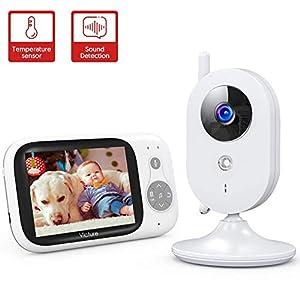 Victure Babyphone Caméra Moniteur bébé 3.2″ LCD Couleur Vidéo Bébé Surveillance 2.4GHz Transmission, Vision Nocturne, Communication Bidirectionnel, Capteur de Température, VOX, Berceuses, Rechargeable