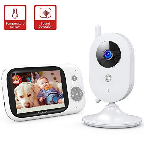 Victure Vigilabebés Inalambrico con cámara, Monitor para Bebés Digital Compatible con Infrarrojos Sala de Visión Nocturna Audio, Charla bidireccional, Canciones de Cuna, Pantalla LCD de 3.2″