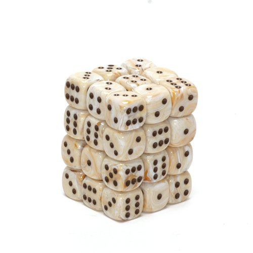 Chessex Dice d6 Sets: Marble Ivory with Black - 12mm Six Sided Die (36) Block of Dice ()