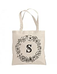 Cute Initial S Floral Gift: Liberty Bags Canvas Bargain Tote Bag