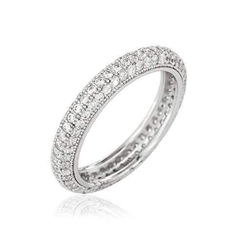Sterling Silver Eternity Wedding Band Ring Micro Pave CZ (9)