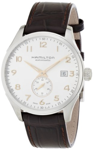 Hamilton Men's Jazzmaster Stainless Steel Swiss-Automatic Watch with Leather Calfskin Strap, Brown, 20 (Model: H42515555)