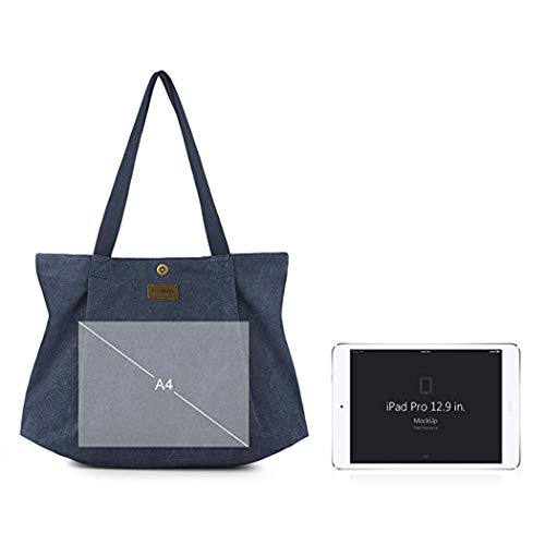 Women's Hobo Shoulder Fanspack Handbags Blue Bag Top Bag Bag Navy Purse Work Handle Tote Canvas Tote Simple Shopping Casual pw4Rnqwdz