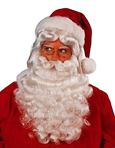 Professional Father Christmas Wig and Beard Set [Health and Beauty] Synthetic (Theatrical Moustaches And Beards)