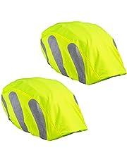 ECENCE 2x helmhoes fietshelm - Helmcover fiets - Regenhoes fietshelm - Universele helmcover Fiets waterdicht neon met reflecterende strips