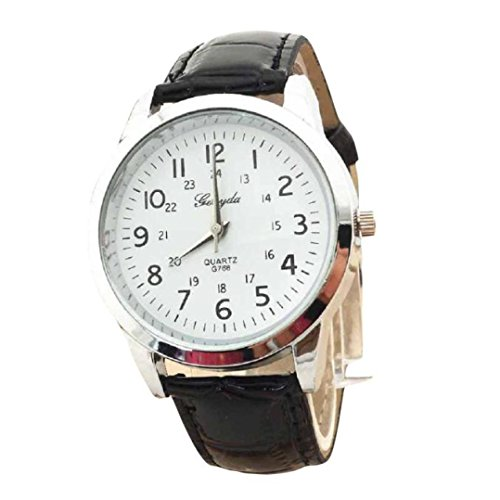 Pocciol Watch,Soft Elegant Analog Luxury Sports Leather Strap Quartz Mens Wrist Watch (A)