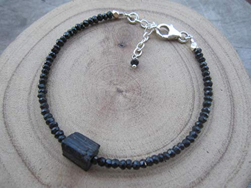 Genuine Raw Black Tourmaline Bracelet,Bead Size 2.5 mm,Karen Hill Tribe Silver Bead, Size 6.5 inches 925 Sterling Silver Chain Extender 1 inch, BRBT ()