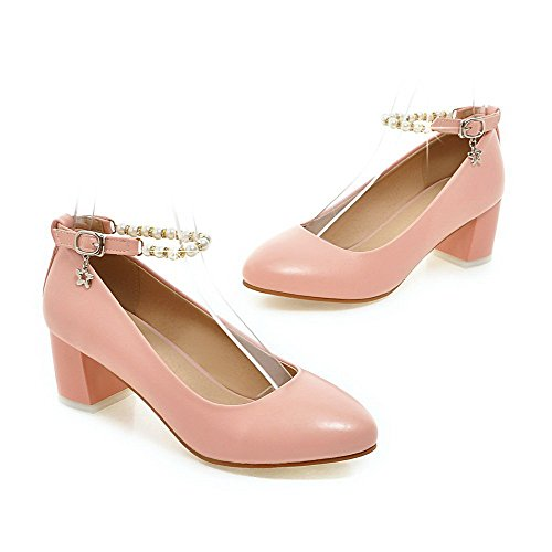 Heels Material WeiPoot Women's Kitten Shoes Pumps Buckle Pink Toe Soft Closed Solid Round 18Sq4W8
