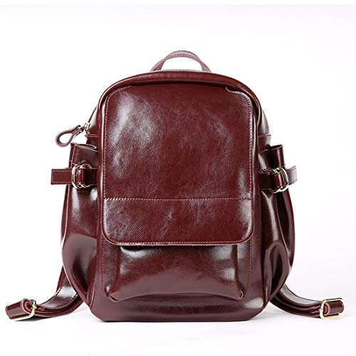 Heshe Womens Leather Backpack Casual Daypack Style Flap Backpacks for Ladies and Girls (Coffee)