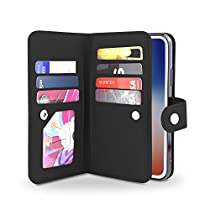 Gear Beast iPhone X Wallet Case, Flip Cover Dual Folio Slim Protective PU Leather Case 7 Slot Card Holder Including ID Holder Plus Cash/Receipt Pockets For Men and Women Bonus Screen Protector
