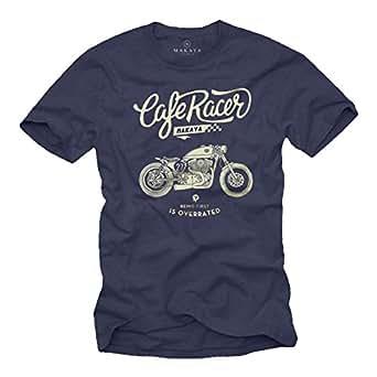 Camiseta Moto GP - Vintage Harley Biker T-Shirt Hombre Motocross Ropa Azul S