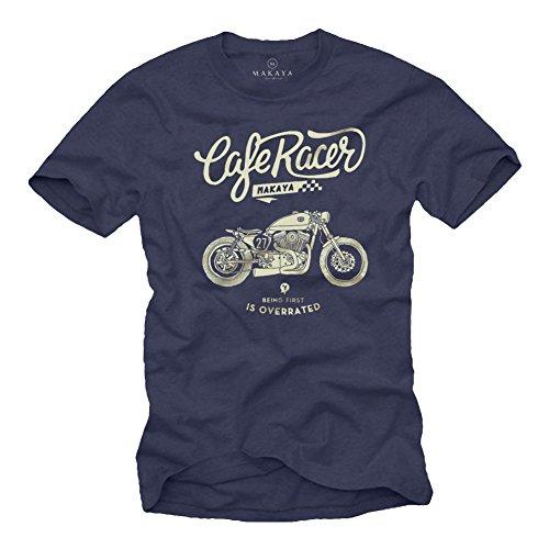 Playera Moto GP - Vintage Harley Biker T-Shirt Hombre Motocross Ropa Azul M
