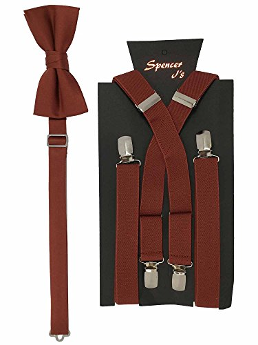 Spencer J's Men's X Back Suspenders & Bowtie Set Variety of Colors (Brick) -