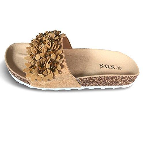 Schuhtraum Damen Sandalen Pantoletten Slipper Blumen Sandaletten Glitzer Komfort PG70 Camel