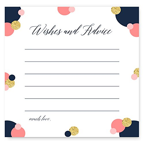 Modern Advice and Wish Cards Set of 25 Navy Coral and Gold