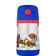Thermos Foogo Vacuum Insulated Stainless Steel Straw Bottle, Paw Patrol, Blue, 10 Oz