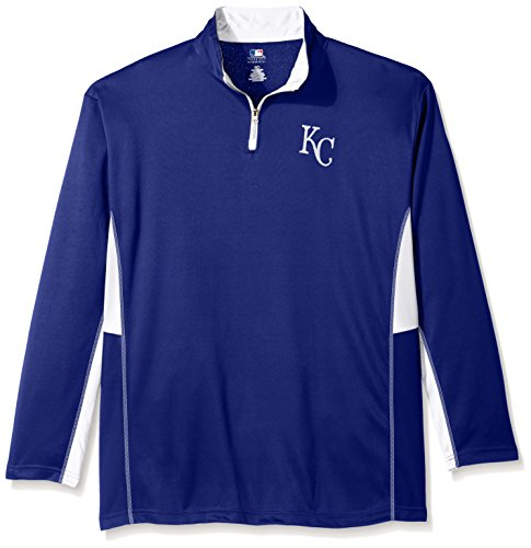 (MLB Kansas City Royals Men's Long Sleeved Quarter Zip Poly Jersey with Logo Embroided, 2X/Tall, Royal)