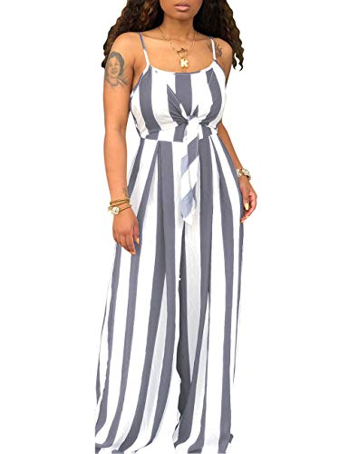 (Women's Spaghetti Strap Sleeveless Wide Leg Long Pants Cut Out Back Striped Casual Jumpsuits Rompers Gray)