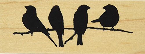 Inkadinkado Mounted Rubber Stamp DD-Branch With Birds 1.5
