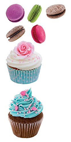 Home Decor Line CR-59158 Cupcakes & Macarons Wall Decal, Blue