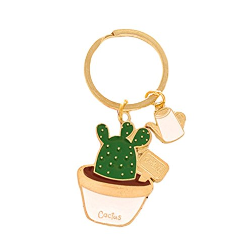Cute Potted Plants Cactus Shape Keychain Hang Bag Accessories Key Ring (White) (Key Chain Plant)