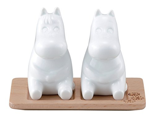 (Moomin Salt & Pepper Shakers with Wooden Stand Yamaka MM820-25)