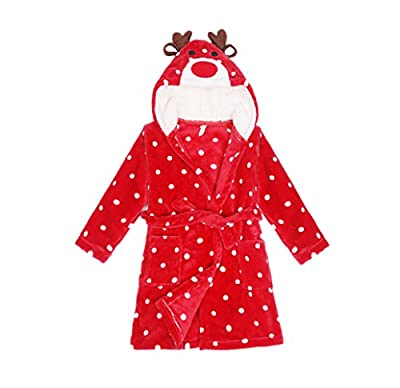 JZLPIN Unisex Baby Boys Girls Flannel Bathrobe Children's Hooded Pajamas Dressing Gown