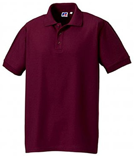Russell Men's Ultimate Pique Cotton Short Sleeve Polo Shirt Burgundy M
