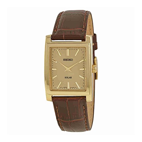 Seiko Men's SUP896 Gold-Tone and Brown Leather Solar-Power Dress (Seiko Mens Dress Watch)