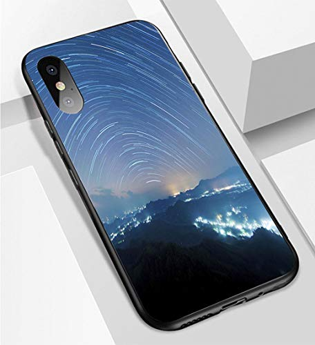 iPhone X/XS Ultra-Thin Phone case Starry Night Above Beautiful Misty Mountain Anti-Drop Anti-Slip Soft Convenient Protective Shell