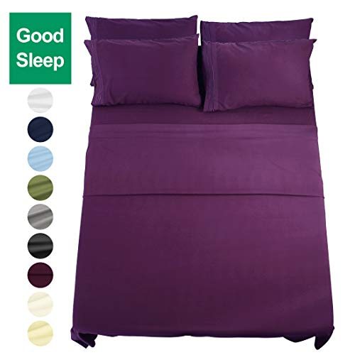 EASELAND 6-Pieces King Size Bed Sheets Set 1800 Series Microfiber-Wrinkle & Fade Resistant,Deep Pocket,Hypoallergenic Bedding Set,King,Purple (Purple King Size Sheet Set)