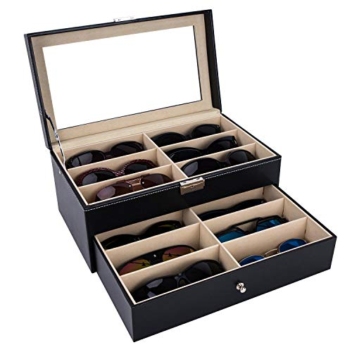 AUTOARK Leather 12 Piece Eyeglasses Storage and Sunglass Glasses Display Drawer Lockable Case ()