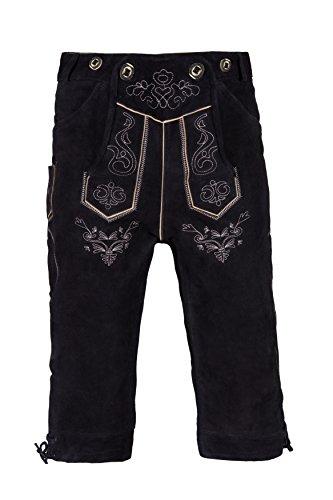 Herren Trachten Lederhose Kniebundhose mit Trägern in verschiedenen Farben, Trachtenlederhose in Größe 46 bis 60 (52 (BW 91 - 98 cm), Schwarz)
