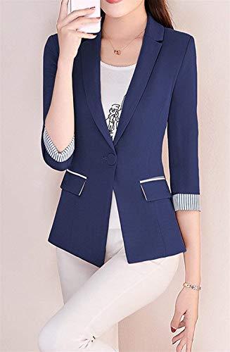 Slim Con Giuntura Primaverile Da Tailleur Blazer Giovane 4 Giaccone Solidi Classica Tasche Strisce Manica Colori Blau Autunno Cappotto Business Moda Donna Button Fit Giacca Eleganti 3 TB1fwq