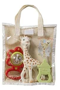 Sophie la girafe 516343 - Bolsa regalo de algodón (Sophie la girafe + anillo de dentición biberón vanilla + sonajero flor), modelos surtidos
