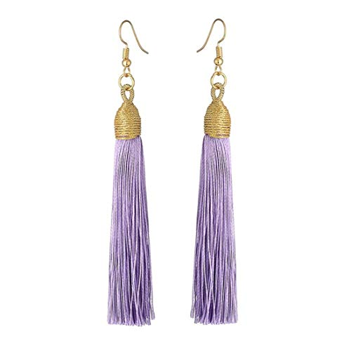 Boho Thread Long Tassel Dangle Drop Fringe Earrings Silk Fabric Vintage Charms Eardrop (Light Purple)